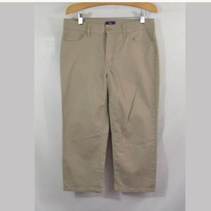NYDJ Lift Tuck Tan Cropped Capri Jeans Size 8